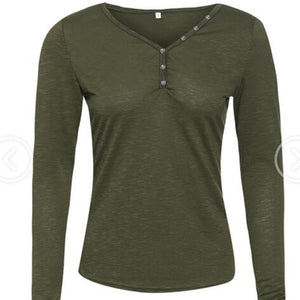 Long-Sleeved T-Shirt With Buttons And Round Collar