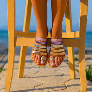 Colourful Striped Flat Slippers
