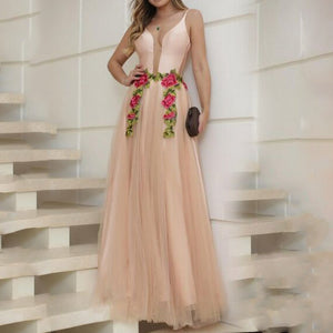 Sex Fashion Deep V-Neck Evening Dress