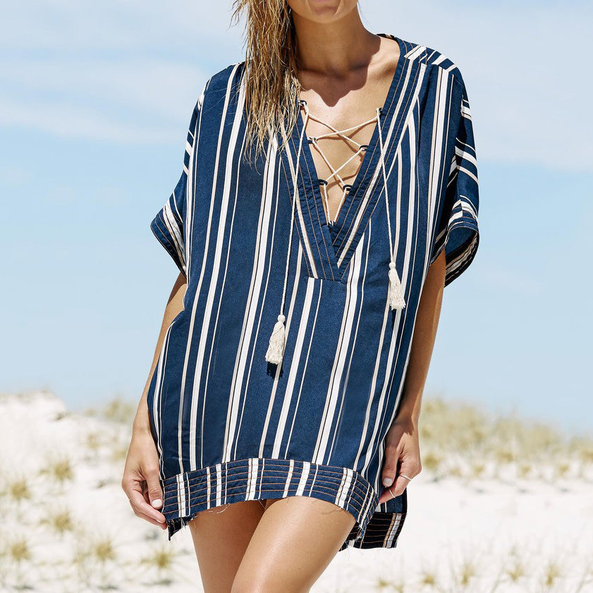 Sex Bandage Tassela Stripe Printed Vacation Mini Cardigan