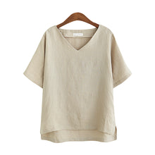 Loose Slim V-Neck Bottoming Shirt Large Size Cotton And Linen Tops