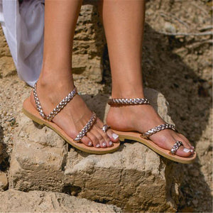 Summer Open Toed Plain Flat Sandal