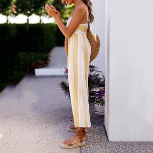 Printed Striped Chest Knotted Sling Jumpsuit
