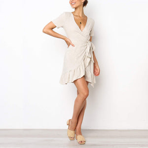 V Neck Ruffle Wrap Mini Dress