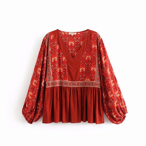 Red Stitching Print V-Neck Bat Sleeve Top