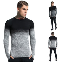 2019 Men's Round Neck Gradient Long Sleeve T-Shirt