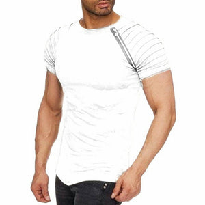 2019 Men's Solid Color Pleated Casual Short-Sleeved T-Shirt