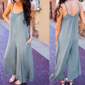 2019 Casual Sling Loose Wide Leg Jumpsuit