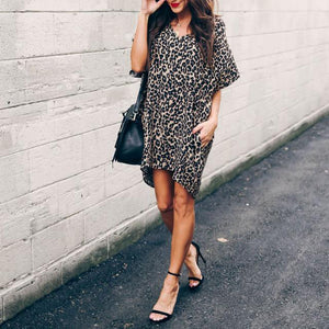 Fashion Leopard Print V Collar Loose Batwing Sleeve Dress