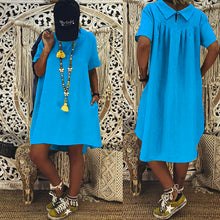 Solid Color Short-Sleeved Shirt Collar Cotton And Linen Dress