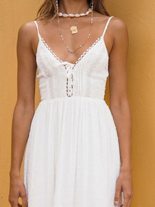 Openwork Lace-Up V-Neck Lace Harness Dress