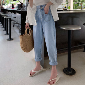 Fashion High Waist Light Color   Loose Slimming Pocket Jeans