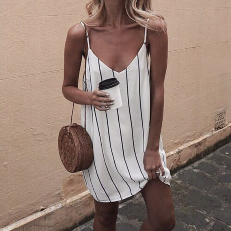 Sexy Sling V-Neck Blast Striped   Dress