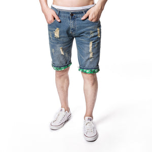 Summer Hole Light Blue Denim Casual Pants