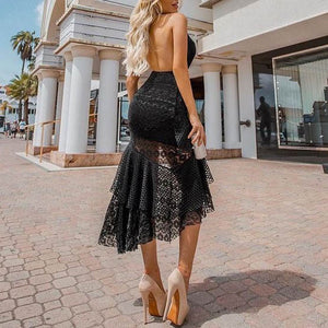 Sexy Deep V Halter Halter Lace Dress