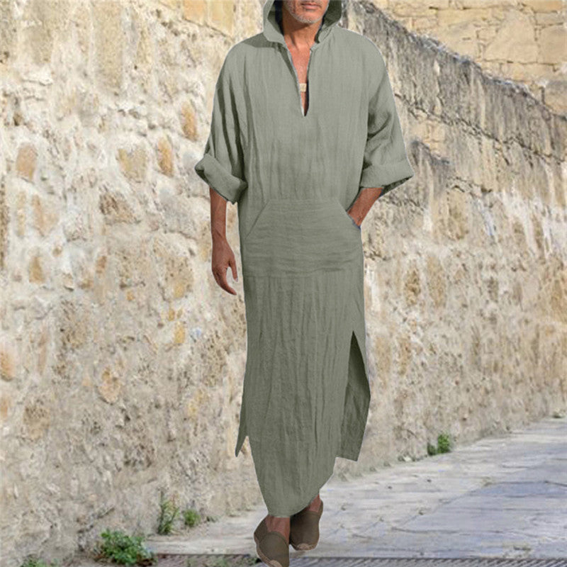 Casual Cotton And Linen Loose Hooded Long Gown