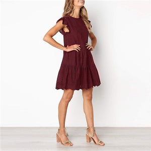Casual Round Neck Flying Sleeve Solid Color Loophole Dress