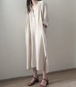 Loose Long-Sleeved Super Long   Knee-Length Cotton Shirt Skirt