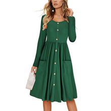 Daily Round Neck Single Breasted Long-Sleeved Slim Dress