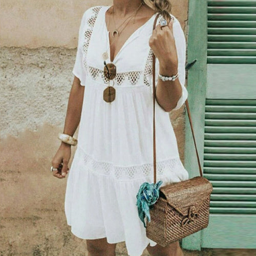 Summer V Collar Hollow Loose Casual Solid Color Shift Dress