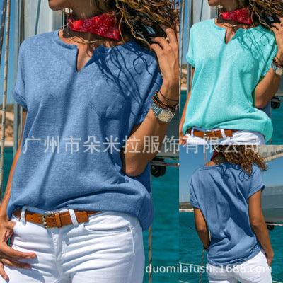 Casual V Collar Solid Color Short Sleeves T-Shirt