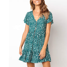Fashion Printed Button Short   Sleeve Deep V-Neck Princess Dress