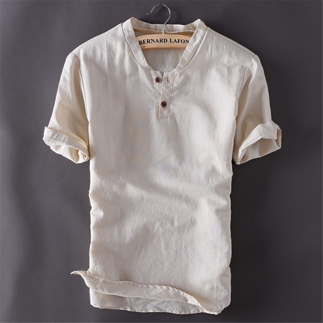 Summer Linen Casual Solid Color Short-Sleeved T-Shirt