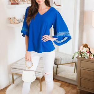 Fashion V Collar Lace Solid Color Loose Top