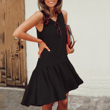 Casual Round Neck Sleeveless Flounce Hem Dress