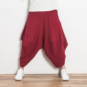 Retro Loose Casual Solid Color Trousers