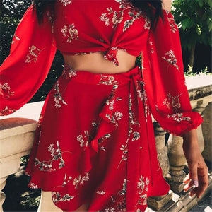 Sexy Off Shoulder Chiffon Printed Two-Piece Dress