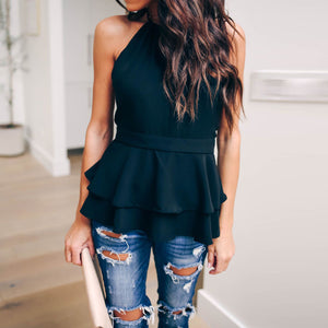 Fashion Casual Hanging Neck   Ruffled Sexy Backless Straps Skirt Design Top