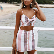 Strip Shoulder Straps Button Decorated Two-Piece Mini Sexy Dress