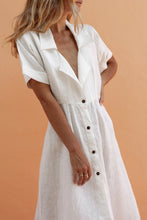 Cotton Single-Breasted Lapels   Split Solid Color Dress