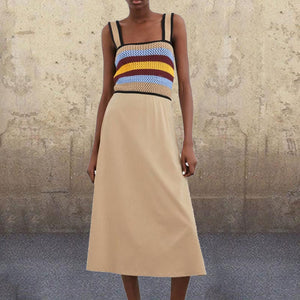 Sexy Open Back Woven Stitching Midi Dress