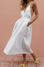 Cotton And Linen Sexy Backless Deep V-Neck Dress Solid Color Dress