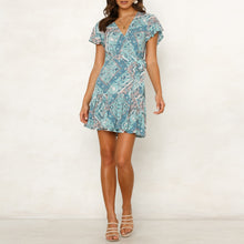 Printed Short-Sleeved Beach Holiday Dress