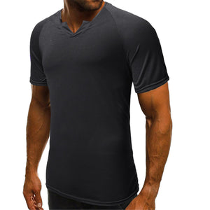 2019 Summer Men's Round Neck Solid Color Casual Short Sleeve T-Shirt