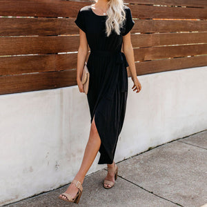 Fashion Casual Short-Sleeved   Crew Neck Lace Dress