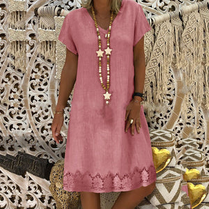 Daily Life Solid Color V Collar Lace Split Joint Loose Shift Dress