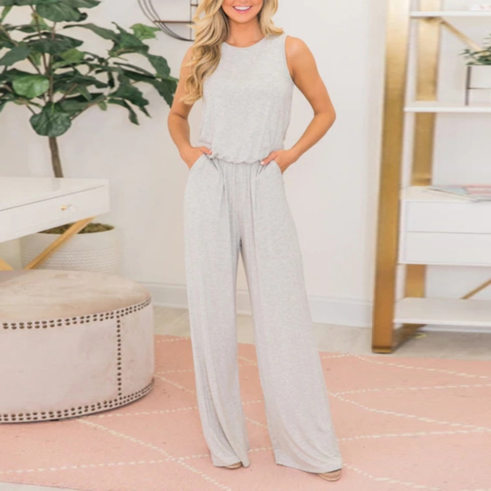 Fashion Casual Sleeveless Waist   Solid Color Jumpsuit