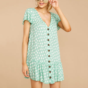 Fashion V Collar Printed Single Breasted Falbala Dress
