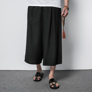 2019 Summer Casual Vintage Men's Linen Wide Leg Pants