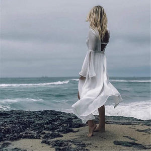 Sexy Backless Beach Bikini Sunscreen Shirt Smock Blouse Vacation