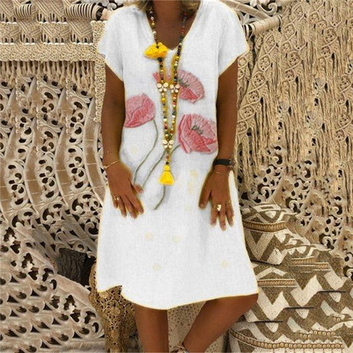 Summer V Collar Printed Cotton And Linen Shift Dress