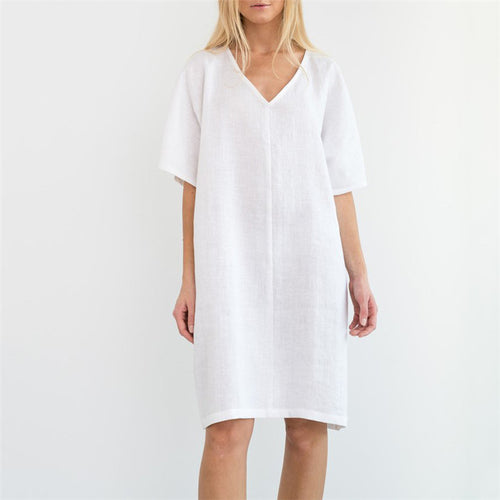 Daily Life V Collar Solid Color Cotton And Linen Shift Dress
