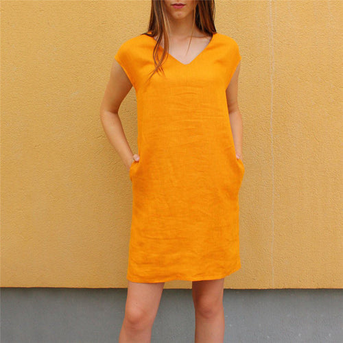 Casual V Collar Solid Color Loose Sleeveless Shift Dress
