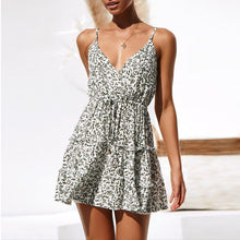 Green Leaf Printed Sexy Halter Backless Dress