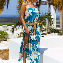 Summer Shoulder Straps Printed Big Pendulum Fork Maxi Dress