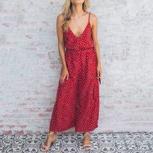 Sexy Deep V-Neck Shoulder Straps Polka Dot Printed Jumpsuits